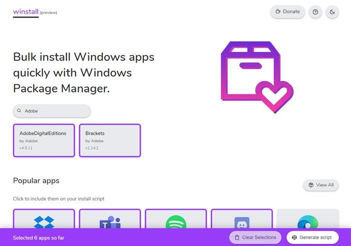 Bulk install Windows apps with Winstall