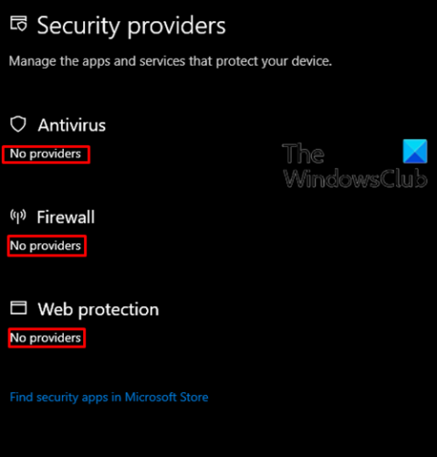 Windows Security says No Security Providers