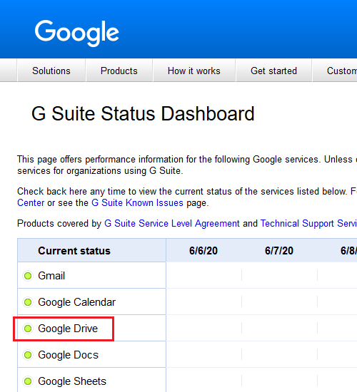 Check the server status of Google Drive