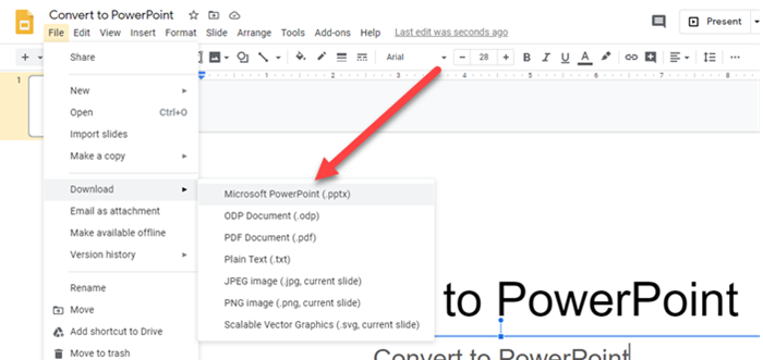 Convert Google Slide to PowerPoint