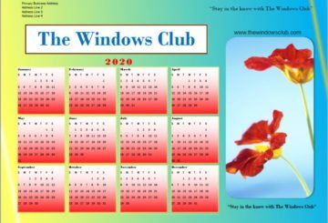 Calendar created with Microsoft Publisher