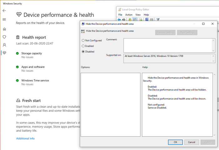 Enable Device Performance and Health in Windows Security