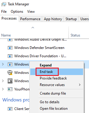 End the Windows Remediation Service task