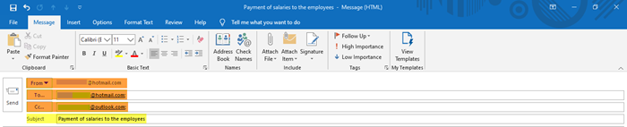 How to create a new email in Outlook app using its features