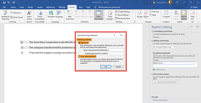 Protect Word document using Restrict Editing