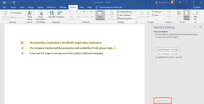 MS Word Restrict Editing