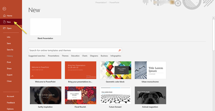 How to search for Online Template and Theme in PowerPoint