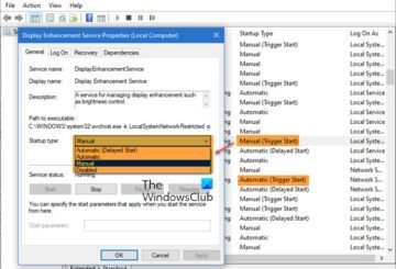 What does Automatic (Trigger Start) Manual (Trigger Start) mean for Windows Services