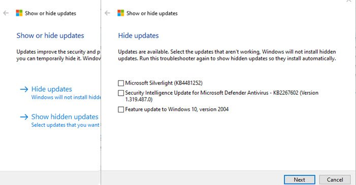 Show Hide Updates Windows 10