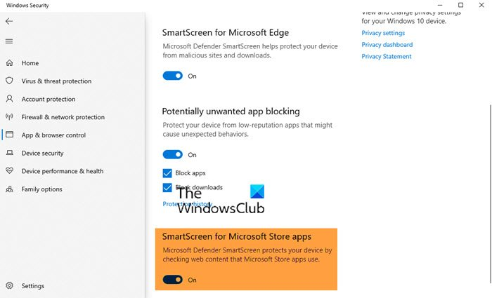Disable SmartScreen for Microsoft Store apps