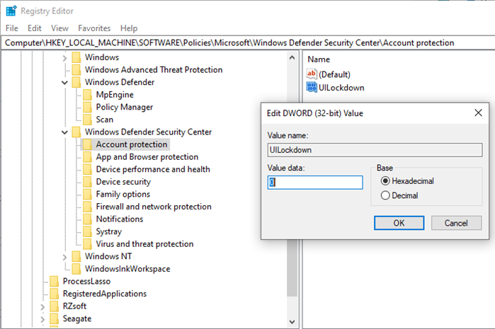 Registry Setting for Windows Security Access