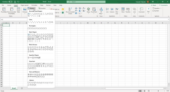 Microsoft Office Excel Shapes option dropdown