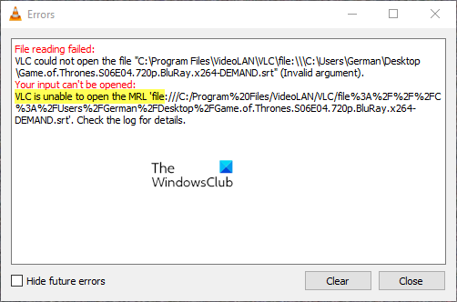 VLC is unable to open the MRL file