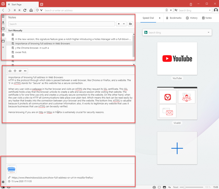 Notes Feature Vivaldi browser