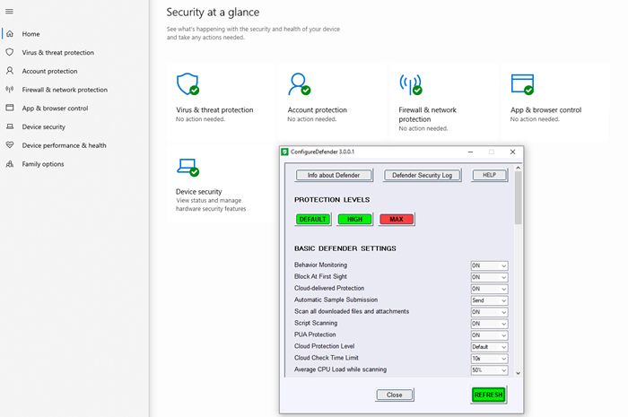 Change Windows Security settings instantly with ConfigureDefender