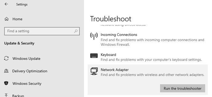 Windows Network troubleshooter