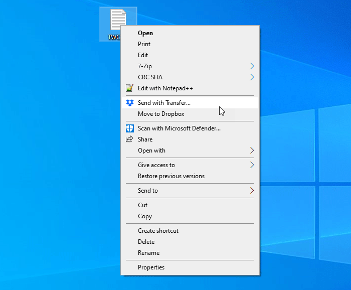 add dropbox context menu