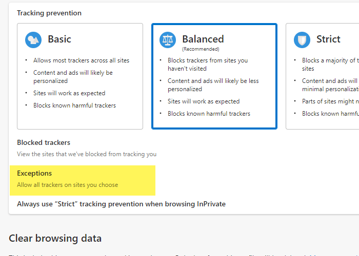 Add a site in Tracking Prevention Exceptions in Edge
