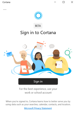 Cannot Sign in to Cortana app on Windows 10
