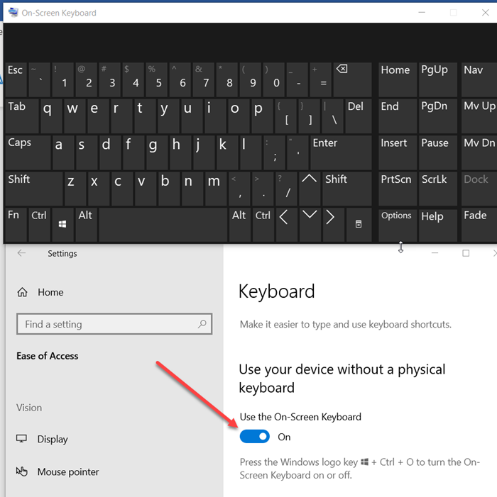 ease of access onscreen keyboard