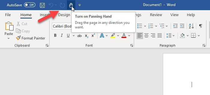 Enable Panning Hand in Microsoft Office apps
