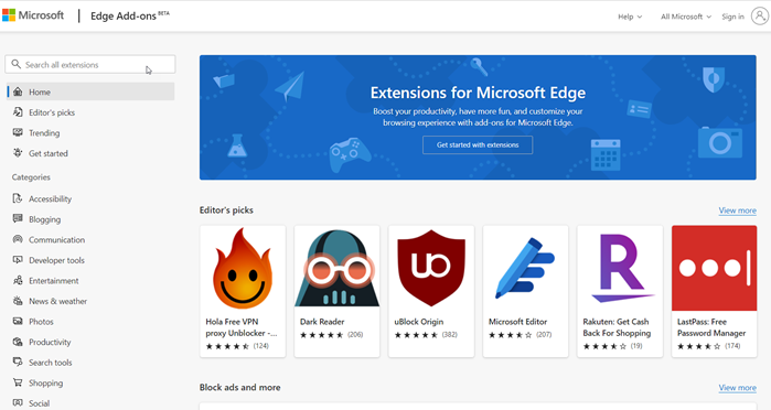 Install Extensions in Microsoft Edge