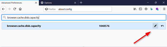 Change Firefox Cache size in Windows 10