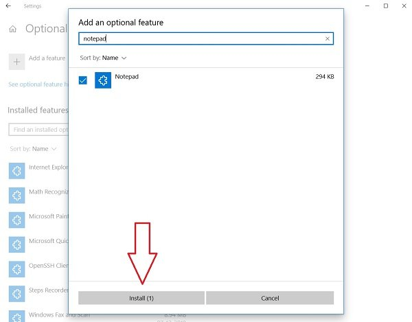 Uninstall or Reinstall Notepad in Windows 10