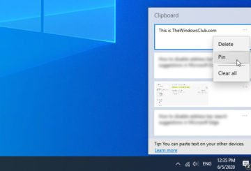How to pin text and image to Clipboard history in Windows 10