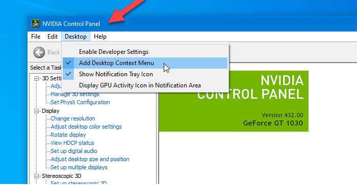 How to remove NVIDIA Control Panel from the context menu and system tray