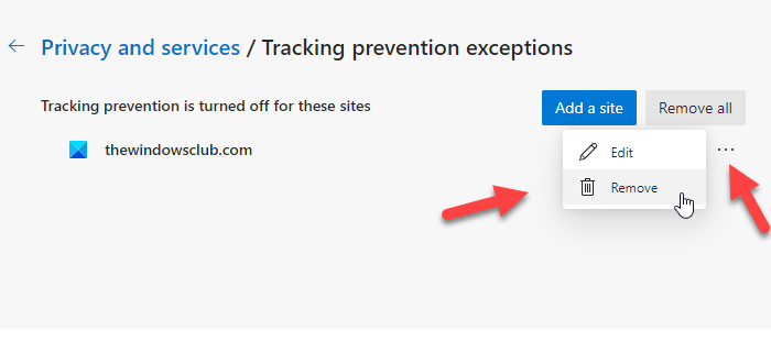 How to remove sites from tracking prevention exceptions in Microsoft Edge