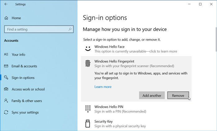 How to remove Windows Hello Fingerprint in Windows 10