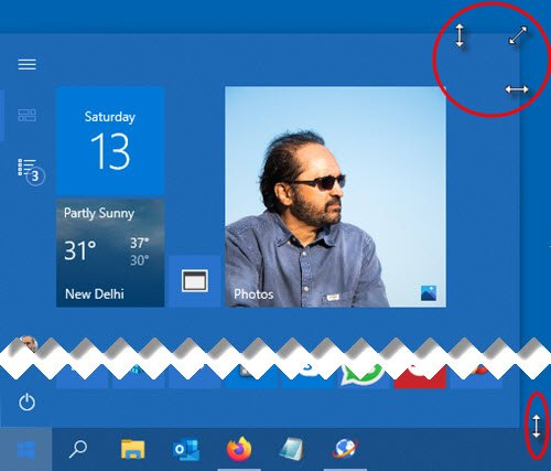 resize the Start Menu and Taskbar in Windows 10