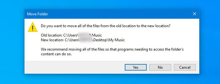 Restore default location of Library folders