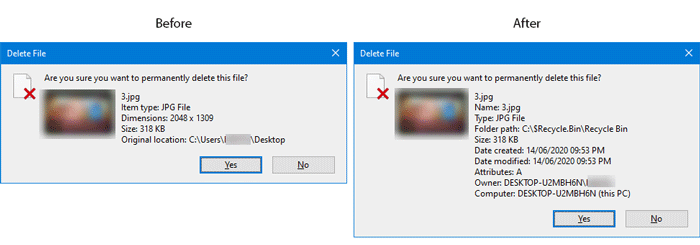 How to show full file details in delete confirmation dialog