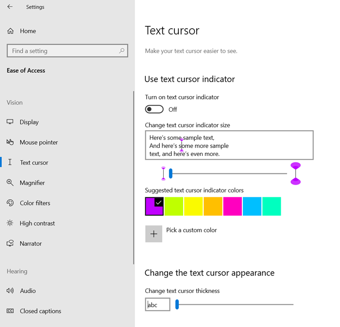 Adjust Text Cursor Indicator size, color & thickness