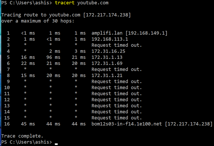 tracert results youtube
