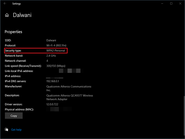 How to check WiFi Security type in Windows 10