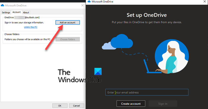 Add multiple OneDrive Accounts in on PC