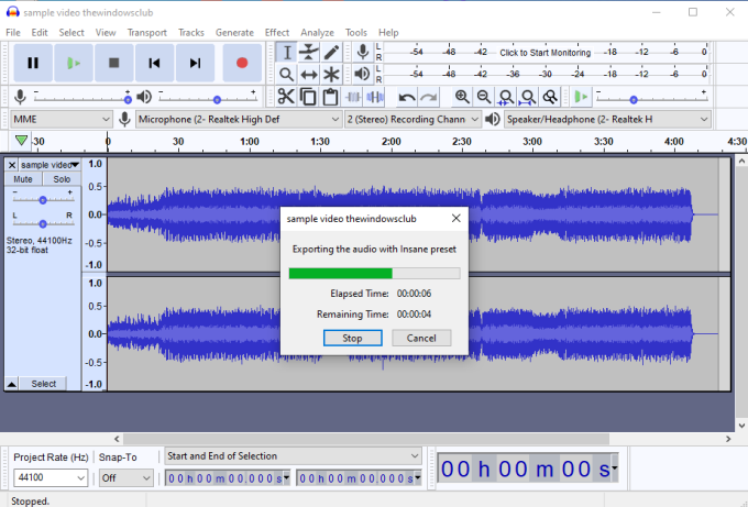 Audacity software with export audio from video feature