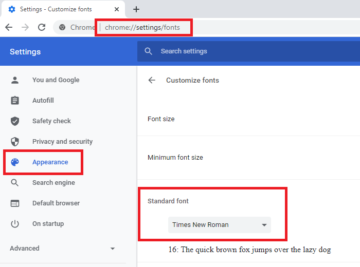 change the Default Font in Chrome, Edge and Firefox
