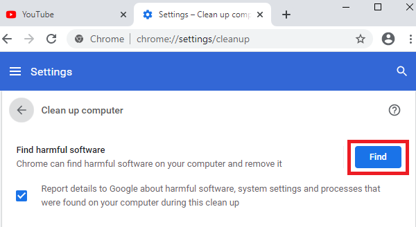 Clean up computer on Google Chrome