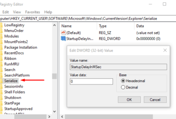Disable Windows 10 Startup Delay using StartupDelayInMSec Registry key