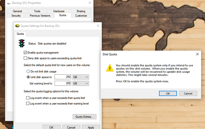 How to enable Disk Quota in Windows 10