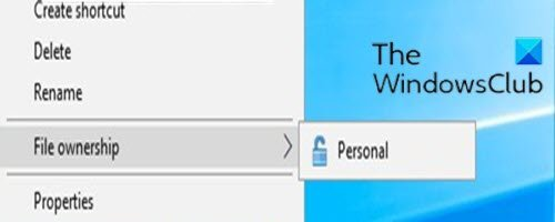 How to add or remove EFS File ownership from Context Menu in Windows 10