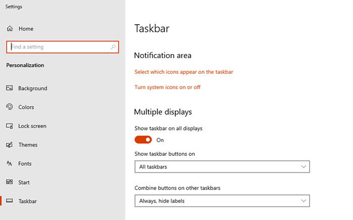 Taskbar Multiple Displays Settings