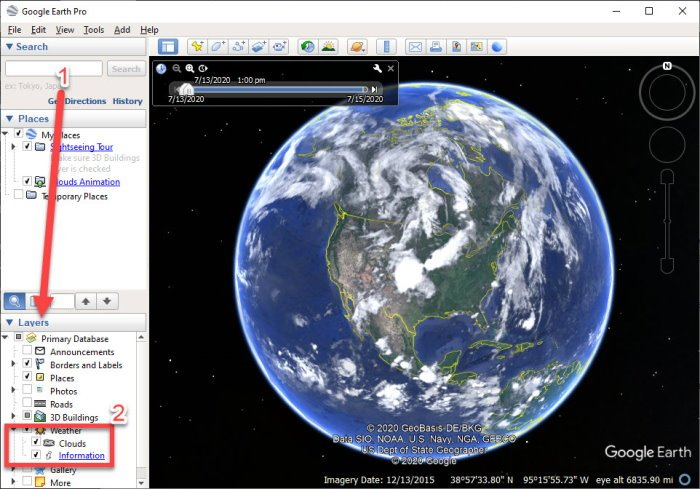 Live Weather Forecast on Google Earth