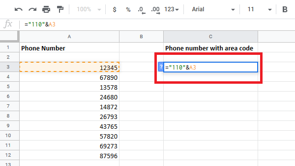 add Country or Area Code to a Phone Number List in Excel