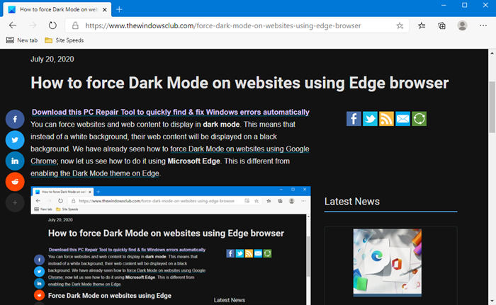 How to force Dark Mode on websites using Edge