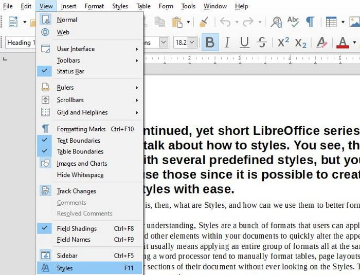 Styles in LibreOffice